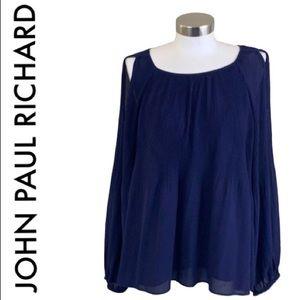 JOHN PAUL RICHARD FLOWY NAVY BLUE TOP SIZE XL